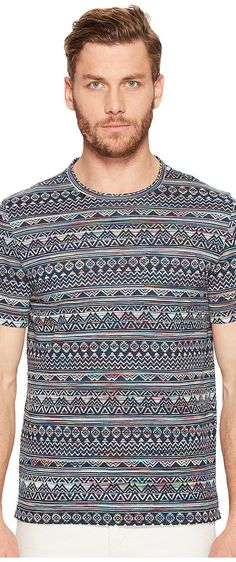 Missoni Mare Etnico Jacquard T-Shirt (Blue) Men's T Shirt - Missoni, Mare Etnico Jacquard T-Shirt, 534140-6350, Apparel Top Shirt, T Shirt, Top, Apparel, Clothes Clothing, Gift - Outfit Ideas And Street Style 2017