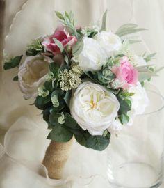 Bride, bridesmaid bouquet, wedding flowers, artificial wedding bouquet.  Roses, lissianthus, peonies, eucalyptus foliage.