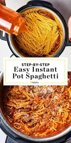 Instant Pot Spaghetti | Kitchn Instant Pot Spaghetti Recipe, Best Instant Pot Recipe, Instant Pot Dinner Recipes, Spaghetti Recipes, Pasta Recipes, Beef Recipes, Instapot Spaghetti, Spaghetti Dinner, Chicken Recipes