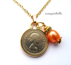 Lucky British Sixpence Coin Necklace-Minted 1955-Reversible-Symbols-Scotland England Ireland Wales Freshwater Pearl-Handmade by campsiebelle by campsiebelle on Etsy