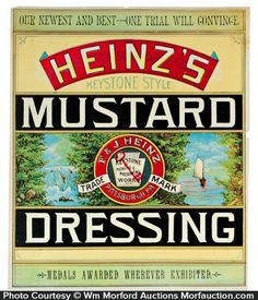 Large, very early, paper litho crate label w/ shiny finish for Heinz Co.'s Keystone brand mustard dressing, featuring beautiful multi-color graphics. Sold at: Wm Morford Antiques Looking to Buy or Sell? Mustard Dressing, Price Guide, Looking To Buy, Crates, Things To Sell, Bottle Labels, Antiques, Beverages, Advertising