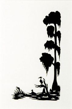 Silhouette; Rice (Carew), signed, Duck & Heron in Cypress Swamp, 5 inch.