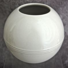 "Trenton Potteries Company 6"" Orbit Vase, White, Circa 1940 from thedevilduckcollection on Ruby Lane"