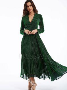 8fb13324a7f  45.89 Dresswe.com SUPPLIES Plain V-Neck Bowknot Long Sleeve Maxi Dress