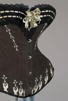 M Grochovska silk corset, 1880s Warsaw, Poland, Kent State University Museum