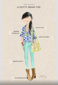 How to wear a polka dot denim top.