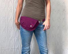 Belt Bag in Bright Plum Cotton : Fanny Pack, Hip Bag, Travel Bag, Hands Free Bag, Dog Walking Bag, Festival Bag, Gift for Her, Stylish Bag