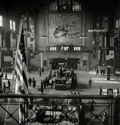 """January 1943. """"Chicago, Illinois. Union Station train concourse."""" Medium-format negative by Jack Delano for the Office of War Information"""