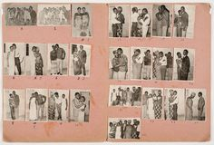 This is a one-of-a-kind collage of photographs; it is a spread from an album of index prints that Malick Sidibé made of his studio portraits. Sidibé is well known for his images of the independent youth of Bamako, Mali, in the 1960s and 1970s. His approach captures the tastes and identities of his sitters and does not seek to impose a traditional or European convention on his contemporary Malian subjects.