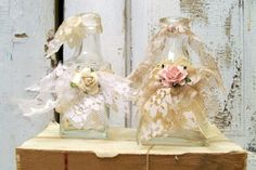 Shabby chic lace bottles recycled shelf by AnitaSperoDesign, $30.00