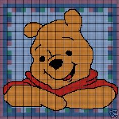 Pooh Face Afghan Throw Crochet Pattern