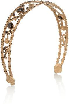 Dolce & Gabbana Gold Goldtone Swarovski Crystal Headband