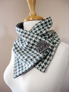 Sage Green Houndstooth Neck Warmer Scarf with by OhMaudlinMe, $38.00