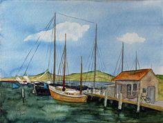 Boote im Hafen von Gager (c) Aquarell von Frank Koebsch | Zeesboot und Traditionssegler im Hafen von Gager (c) Aquarell von Frank Koebsch