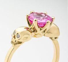 Gold Skull Ring, Pink Skull Ring, Skull Engagement Ring, Skull Promise Ring, Skull Wedding, Gothic Ring, Sapphire Ring, Rock n Roll Wedding