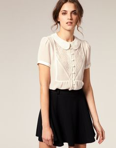 Peter pan collar shirt 59 Pretty Street Style Ideas That Will Inspire You This Fall – Peter pan collar shirt Source Pretty Outfits, Cute Outfits, Online Shop Kleidung, Asos Mode, Mode Lookbook, Moda Formal, Mode Online Shop, Tokyo Street Fashion, Looks Black