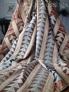 SO EARLY c1830-1850 Antique QUILT Amazing Fabrics Chintz Prussian Blue ++