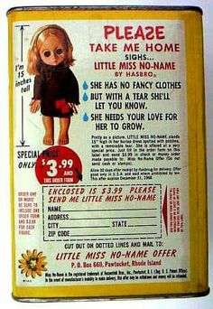 LITTLE MISS NO-NAME doll - She was my best friend growning up.