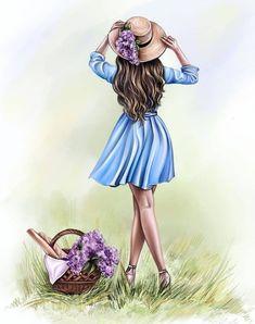 Girly Drawings, Pretty Drawings, Cute Girl Drawing, Woman Drawing, Cartoon Girl Images, Girl Cartoon, Lovely Girl Image, Girls Image, Sarra Art