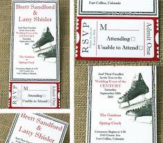 Hockey themed wedding invitations