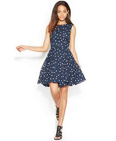 Maison Jules Dress, Sleeveless Polka-Dot-Print A-Line
