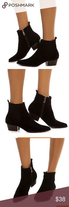 Brand new boots Sleek faux suede forms the cutest ankle booties with a super low shaft for structural style! The Aria-8 features a pointed toe and faux stacked low inch heel giving it a nod to classic chelsea boot. Just slip into these bad babies and pair them off with a high waist skirt and button down blouse for the ultimate, comfy working girl look. Heel height: 1.5 in. Shaft: 4.5 in. Synethic suede Pointed toe Side zip closure Lightly cushioned insole Wooden heel All man made materials…