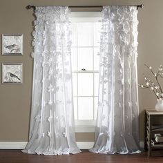 Lush Decor Riley 84-Inch Curtain Panel (White), Size 54 x 84 (Polyester, Solid)