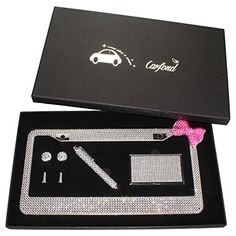 Carfond 7 Row Pure Handmade Waterproof Bling Bling Rhinestones Stainless Steel Metal License Plate Frame with Bling Business Card Holder Bling Stylus penSilverpink bowknot Gift Set *** Want to know more, click on the image.Note:It is affiliate link to Amazon.
