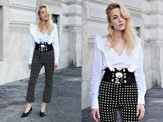 Get this look: http://lb.nu/look/8656291  More looks by TripByTriplets B.: http://lb.nu/tripbytriplets  Items in this look:  Zara Shirt, Zara Pants, Zara  Shoes, Zara Corset   #chic #elegant #romantic #girl #beautiful #amazing #fashion #style #stylish
