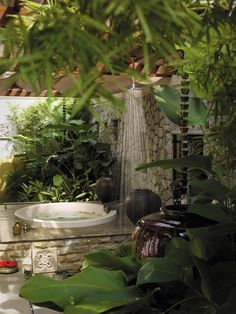 10 Eye-Catching Tropical Bathroom Décor Ideas That Will Mesmerize You - 10 Stunning Tropical Bathroom Décor Ideas to Inspire You ➤To see more Luxury Bathroom ideas visi - Tropical Bathroom Decor, Garden Bathroom, Garden Shower, Bathroom Spa, Bathroom Interior, Bathroom Ideas, Bath Ideas, Bathroom Designs, Bathroom Vanities