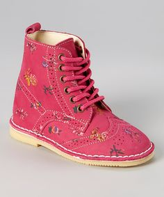 Look at this L'Amour Shoes Pink Floral Oxford Boot on #zulily today!