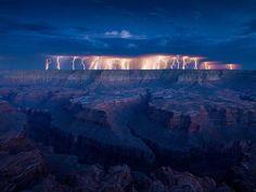 Lightning strike over Grand Canyon