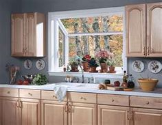 Divine White Oak Kitchen Cabinet Set With White Painted Framed Kitchen Window Ideas As Well As Grey Wall Painted In Traditional Grey Kitchen Designs Kitchen Garden Window, Kitchen Sink Window, Garden Windows, Kitchen Windows, White Oak Kitchen, New Kitchen, Kitchen Ideas, Awesome Kitchen, Beautiful Kitchen