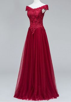 Beautiful Tulle Wine Red Off Shoulder Prom Dresses,