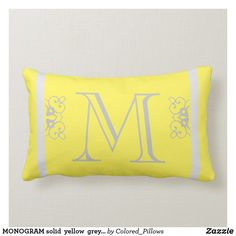 Shop MONOGRAM solid yellow grey custom decorative Lumbar Pillow created by Colored_Pillows. Custom Pillows, Decorative Pillows, Lumbar Pillow, Bed Pillows, Porch Decorating, Decorating Ideas, Small Front Porches, M Monogram, Yellow Pillows