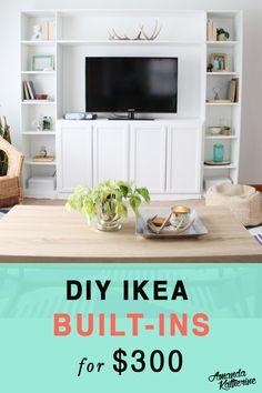 Super diy shelves ikea built ins Ideas Ikea Built In, Tv Built In, Built In Bookcase, Expedit Hack, Ikea Kallax Shelf, Billy Ikea Hack, Ikea Billy Bookcase Hack, Billy Bookcases, Bookshelves