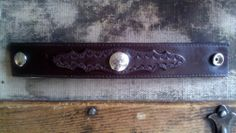 Mens Leather Cuff / Dark Brown Leather Bracelet with by Lauralous, $16.00