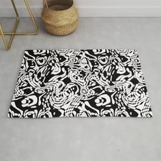 Black And White Odd Shape Pattern Rug Black And White Carpet, Black And White Doodle, White Rug, Modern Rugs, Doodle Patterns, Shape Patterns, Pastel Gradient, Weird Shapes
