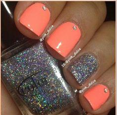 ☆ Nails ☆ #Orange #sparkle