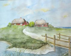 Halligwarft - Aquarell - Original - 24 x 30 cm - Nordsee - Urlaub