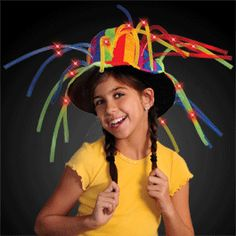 ac4e6f1256658 Funny Clown Top Hat With Lights   Noodle Hair