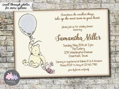 Classic Winnie the Pooh Bear Baby Shower Invitation, Pooh Baby Shower Invitation Baby Boy or Baby Girl Shower Invitation 5x7 - Printable by PurplelephantDesigns on Etsy https://www.etsy.com/listing/269532188/classic-winnie-the-pooh-bear-baby-shower