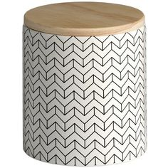 Ceramic Black and White Pattern Storage Jar with Wooden Lid Jar Storage, Kitchen Storage, Storage Ideas, Kitchen Canisters, Kitchenware, Buy Kitchen, White Patterns, Organizer, Outdoor Furniture