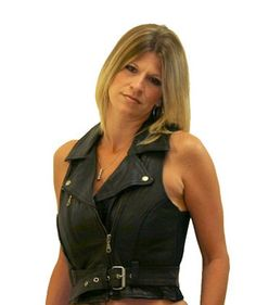 Motorcycle Girls Leather Vest with Buckle