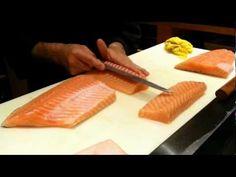 Slicing fish for sashimi and nigiri - YouTube