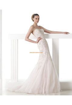 robe de mariée sirène ras du sol classique col en coeur