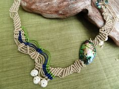Macrame necklace Maui with Abalone nugget and by StonePureElegance, $65.00