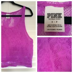 Victoria's Secret PINK Lace Crop Top Lace crop top in orchid (pinkish/purple). A great piece to pair with jean shorts and a colored bandeau, or over your bikini to the pool or beach. Worn just once! Victoria's Secret Tops Crop Tops