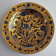 Zsolnay Pecs Richly Gilded & Enameled Floral Plate c1880 -  Size: 24.25cm (9.6 inch) Diametre X 3.5cm (1.4 inch) Tall.   Zsolnay pecs signed and impressed mark with form number 459. Dating 1873 - 1882.