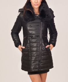 Look at this Black Quilted Hooded Coat on #zulily today!